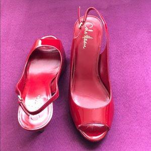 cole haan red peep toe heels